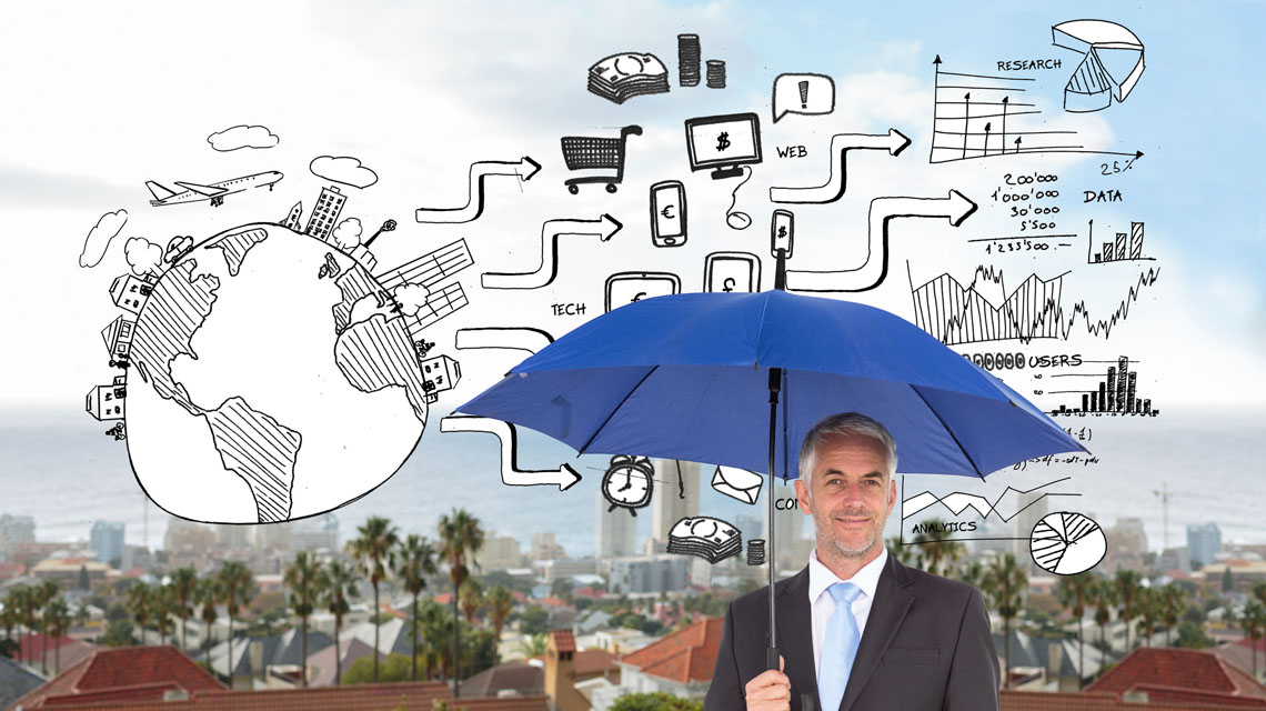 multichannel marketing illustration above man with umbrella